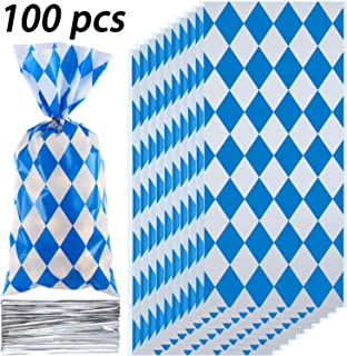 Blulu 100 Pieces Oktoberfest Party Supplies Bavarian Decorations German Beer Festival Party Favor Cellophane Treat Bags Cookie Candy Checkered Packaging Bag with Twist Ties