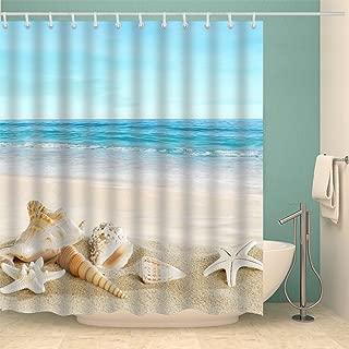 Jibin Bong 72 X 72 Inch Blue Sky Tropical Beach Shower Curtain Starfish Conch Seashell Shower Curtains - Waterproof Fabric Polyester Bathroom Decor Ocean Shower Curtain