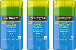 Neutrogena CoolDry Sport Sunscreen Stick with Broad Spectrum SPF 50+, Sweat- & Water-Resistant Sunscreen with Oil- & PABA-Free Formula, 1.5 oz (Pack of 3)