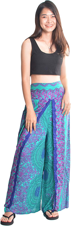 Orient Trail Womens Palazzo Slit Split Wide Leg Pants Casual Beach Boho Hippie Bohemian Pilate Flowy Wrap Plus Size 2-18