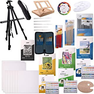 139pc Deluxe Artist Painting Set for Adults - Includes Adjustable Aluminum and Wood Easels, Brush Sets, Watercolor, Acryli...