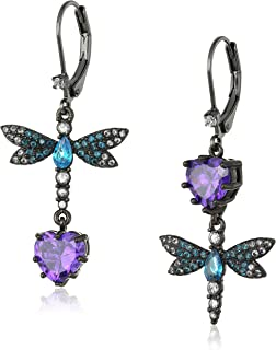 "Betsey Johnson""Cubic Zirconia Critter"" Cubic Zirconia and Butterfly Double Mismatch Drop Earring"