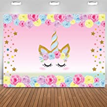 Unicorn Backdrop Birthday 3x5 ft Unicorn Photography Background for Girls Birthday Party, Rainbow Floral Backdrop Unicorn Party Supplies Studio
