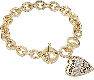 "GUESS""Basic"" Graffiti Logo Heart Toggle Charm Bracelet"