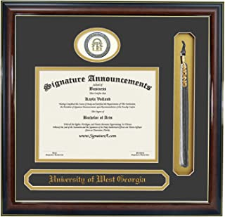 Signature Announcements University of West Georgia (UWG) Undergraduate and Graduate Graduation Diploma Frame with Sculpted Foil Seal, Name & Tassel (Gloss Mahogany w/Gold Accent, 20 x 20)