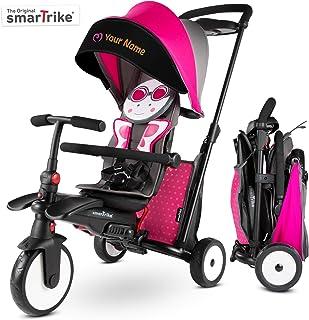 smarTrike STR5 Triciclo Plegable con Carrito Certificado para niños de 1,2,3 años con Bordado Personalizado, Triciclo multietapa 7 en, Rosa