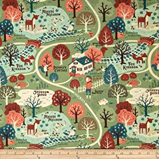 Birch Organic Fabrics Birch Organic Acorn Trail Map Peri Mint, Fabric by the Yard