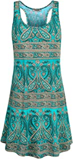 Hibelle Women's Crew Neck Sleeveless Casual Printed Tank Dress with Pockets