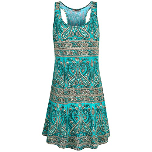 fc6f4686058c Hibelle Women's Scoop Neck Sleeveless Casual Printed Tank Dress with Pockets