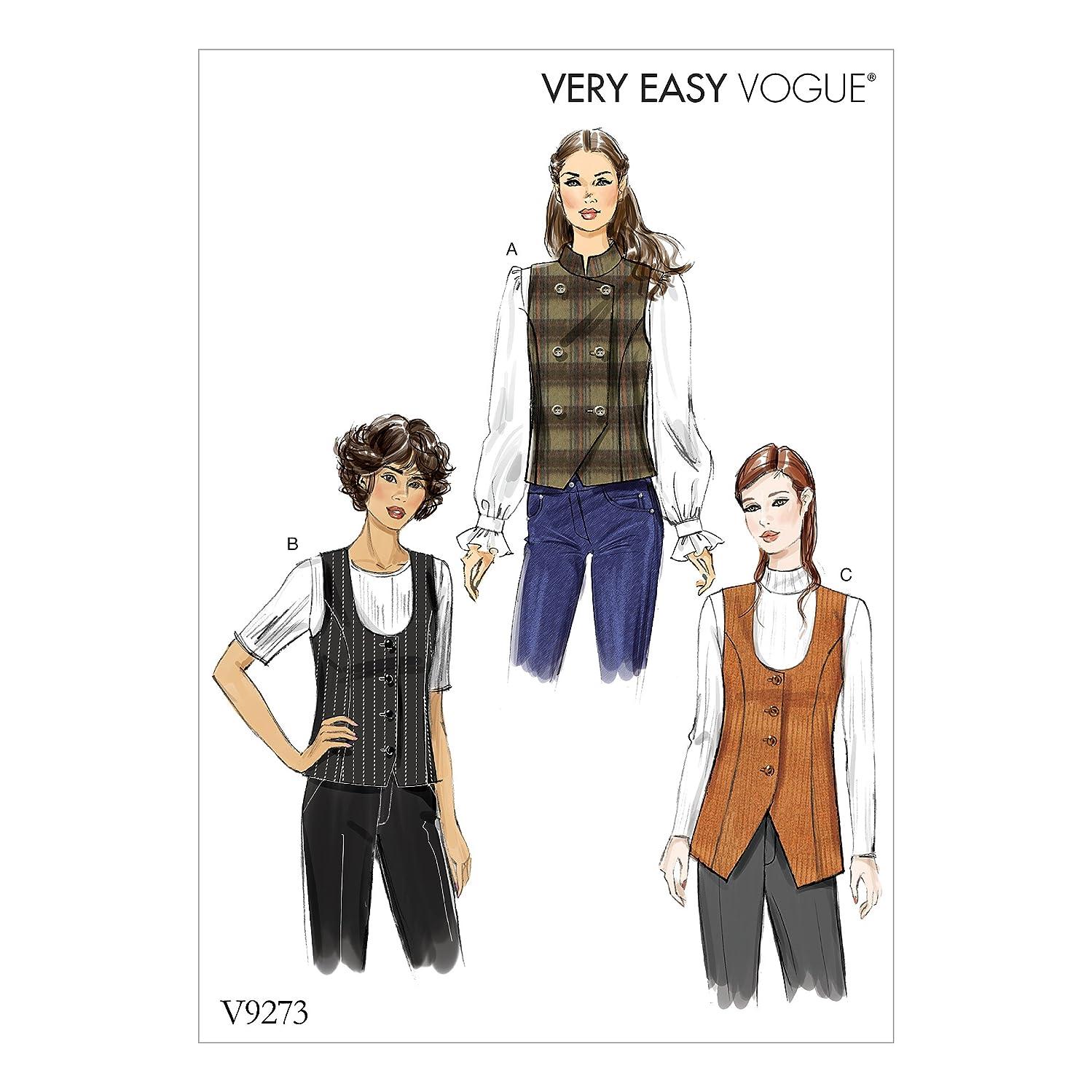 Vogue Patterns V9273A50 Lined Vest, 6-8-10-12-14 Red