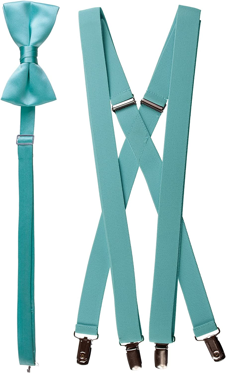 Matching Spa Blue Adjustable Suspender and Bow Tie Sets, Kids to Adults Sizing