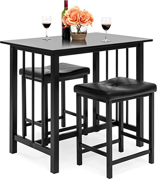 Best Choice Products Marble Veneer Kitchen Table Dining Set W 2 Counter Stools Black