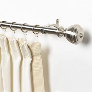 Deco Window 1 Inch Adjustable Satin Silver Curtain Rod for Windows Curtains with Oval Finials & Brackets Set - 36