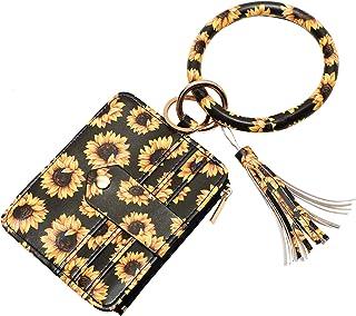 MONOBLANKS Bracelet Keychain Card Holder,Leather Tassel Bangle Key Ring Matching with Wristlet Wallet for Women Girls