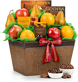 GiftTree Fresh Fruit and Godiva Congratulations Gift Basket | Includes Godiva Chocolates, Fresh Pears, Crisp Apples, Juicy Oranges | Celebrate Life's Milestones