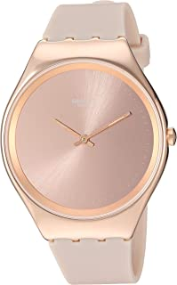 Swatch 1810 Skin Irony Stainless Steel Quartz Silicone Strap, Pink, 16 Casual Watch (Model: SYXG101)