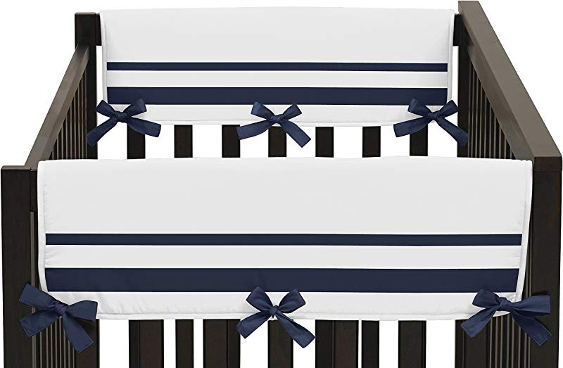 Sweet Jojo Designs 2 Piece White And Navy Modern Hotel Teething Protector Cover Wrap Baby Unisex Boy Or Girl Crib Side Rail Guards