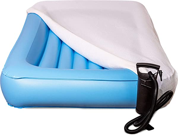 Air Mattress Toddler Inflatable Travel Bed With Safety Rail Free Pump And Bed Sheet Fits Children Who Sleep In A Standard Crib
