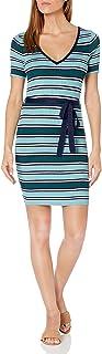 MINKPINK Women's Holiday Inn Stripe Belted Knit Dress