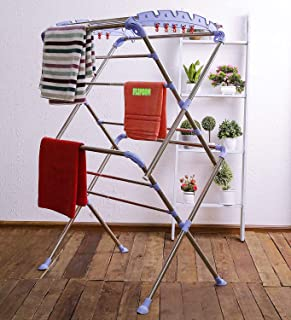Flipzon Stainless Steel Cloth Drying Stand - Sumo - Pre-Assembled, Foldable (Make in India) - Blue & Silver