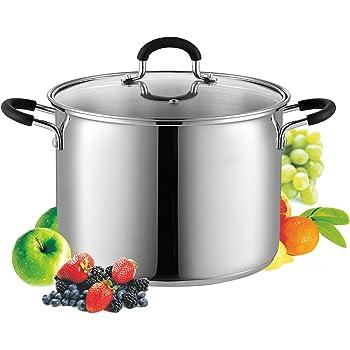 Cook N Home 02442 - Olla con tapa compatible con inducción, 16 cuartos de galón, metálico, Metálico, 7.5 l, 1