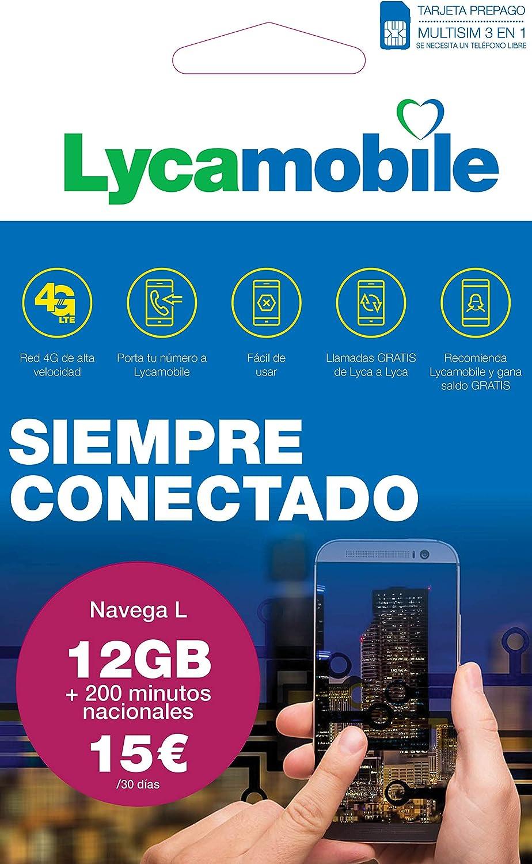 Lycamobile Tarjeta Prepago Multi SIM - Plan Nacional NAVEGA L , Incluye 12 GB de Datos + 200 Minutos en Llamadas , 30 Días: Amazon.es: Electrónica
