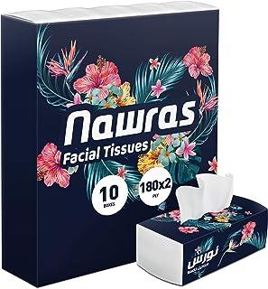 Nawras Facial Tissues 180X2 Ply / 10 Nylon Pack, White