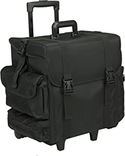 Hiker Domini Soft-Sided Rolling Makeup Case Professional Nail Travel Wheel Organizer, Black Canvas, 15 Pound