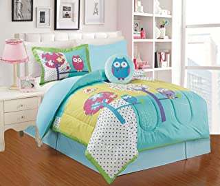 All American Collection 4 Piece Twin Size Owl Comforter Set with Bed-skirt (Twin Comforter)