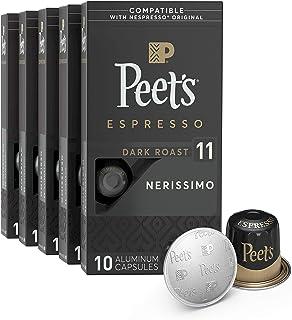 Peet's Coffee Espresso Capsules Nerissimo, Intensity 11, 50 Count Single Cup Coffee..