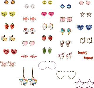 30 Pairs Cute Girls Stainless Steel Stud Earring Sets, Unicorn Earrings for Kids, Colorful Multiple Stud Earrings