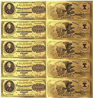 5枚セット!レア!1878年アメリカ USA10000ドルゴールド開運紙幣!令和時代の億万長者の財布お守り 社長経営者 起業家向け 贈り物 ご商売に