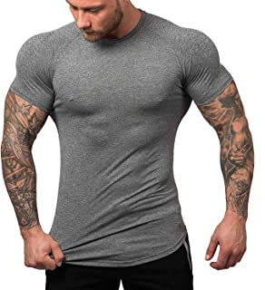 Men's Quick Dry Workout T-Shirts Compression Athletic Baselayer Tee Gym Training Tops S-XXL