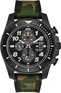 Citizen - Reloj deportivo de cuarzo de acero inoxidable para hombre con correa de nailon, camuflaje, 22 (Modelo: CA0727-12E)