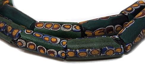 Millefiori Venetian Trade Beads Green Matched African 28 Inch