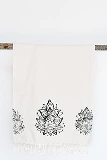 Februa Turkish Beach and Bath Towel Peshtemal   Natural Printed Bamboo Cotton Hand-loomed   Multi-Purpose Shawl Gym Yoga   Summer Vacation Camping Travel (Lotus Flower 70 x 35 in.)