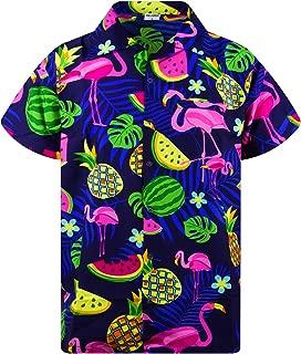 Funky Hawaiian Shirt Men Shortsleeve Frontpocket Hawaiian-Print Melon Flamingo Fruits