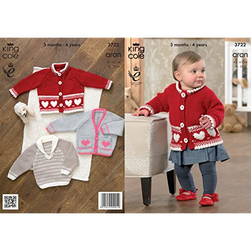 f28c68fd9d18 King Cole Baby Aran Knitting Pattern Kids Patterned Jacket Cardigan    Sweater 3722