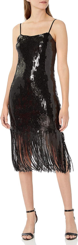Donna Morgan Women's Stretch Sequin Sleeveless Fringe Hem Dress