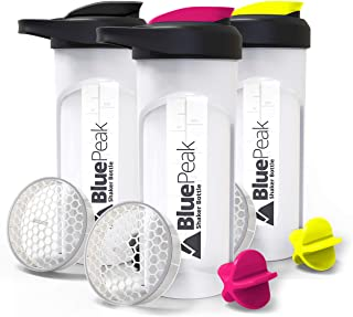 BluePeak Protein Shaker Bottle 28-Ounce, 3-Pack, with Dual Mixing Technology. BPA Free, Shaker Balls & Mixing Grids Includ...