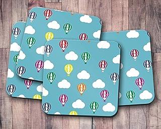 Posavasos azules con diseño de globo aerostático multicolor, posavasos individuales o juego de 4