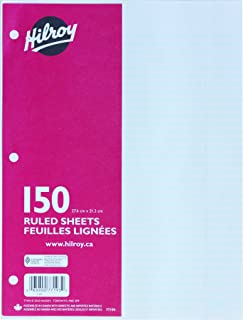 Hilroy Ruled Refill Paper, 3 Hole Punched, 10-7/8 X 8-3/8 Inches, 150 Sheets, White (77193)