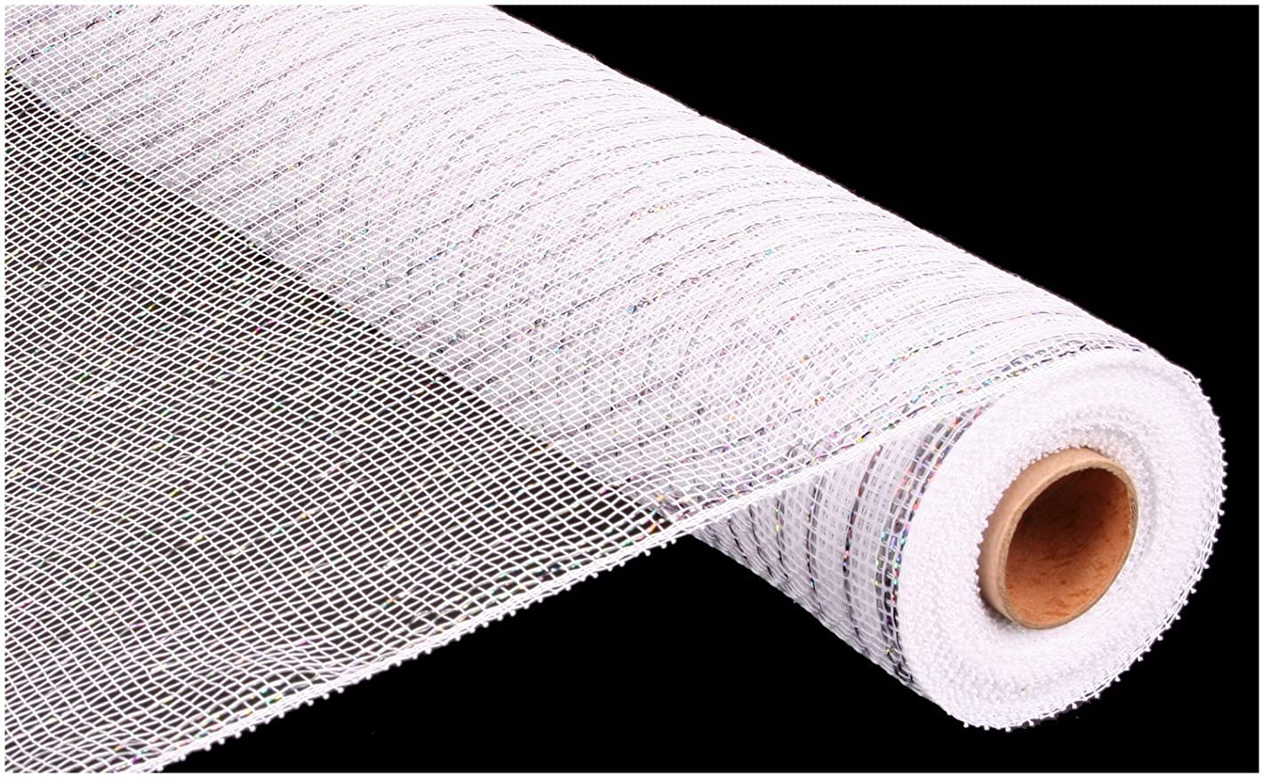 LA Crafts Brand Metallic Decorative Poly Deco Mesh - White/Silver