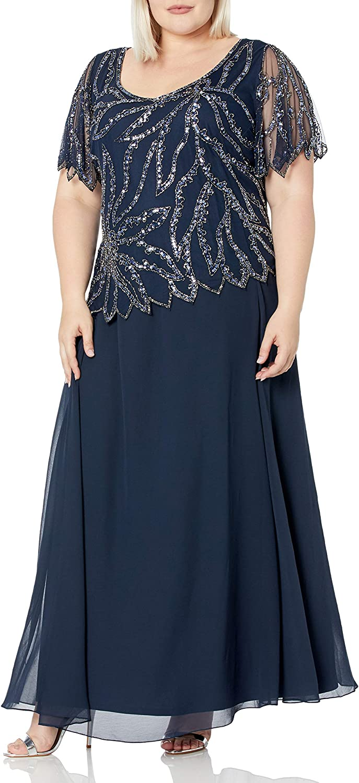 J Kara Women's Plus Size Beaded Short Sleeve Long Gown