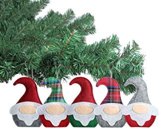 Sattiyrch Christmas Gnome Felt Hanging Ornaments, 5pcs Handmade Scandinavian Swedish Tomte Holiday Home Decorations, Party Favors