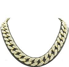 Shiny Jewelers USA Mens Iced Out Hip Hop Gold Tone CZ Miami Cuban Link Chain Choker Necklace