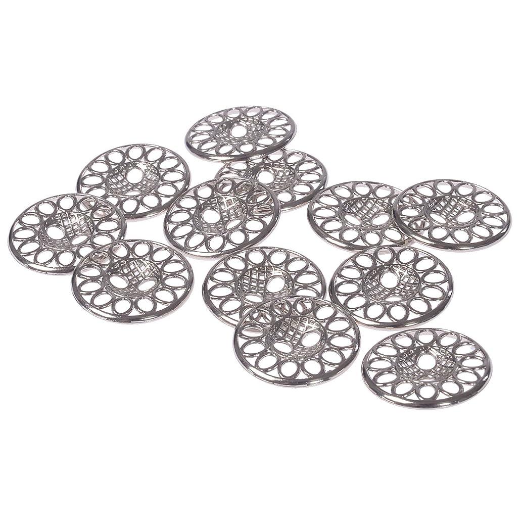 Mibo Zinc Die Casting Metal Button Perforated Filigree Design 2 Hole 24 Line Nickel (12pc)