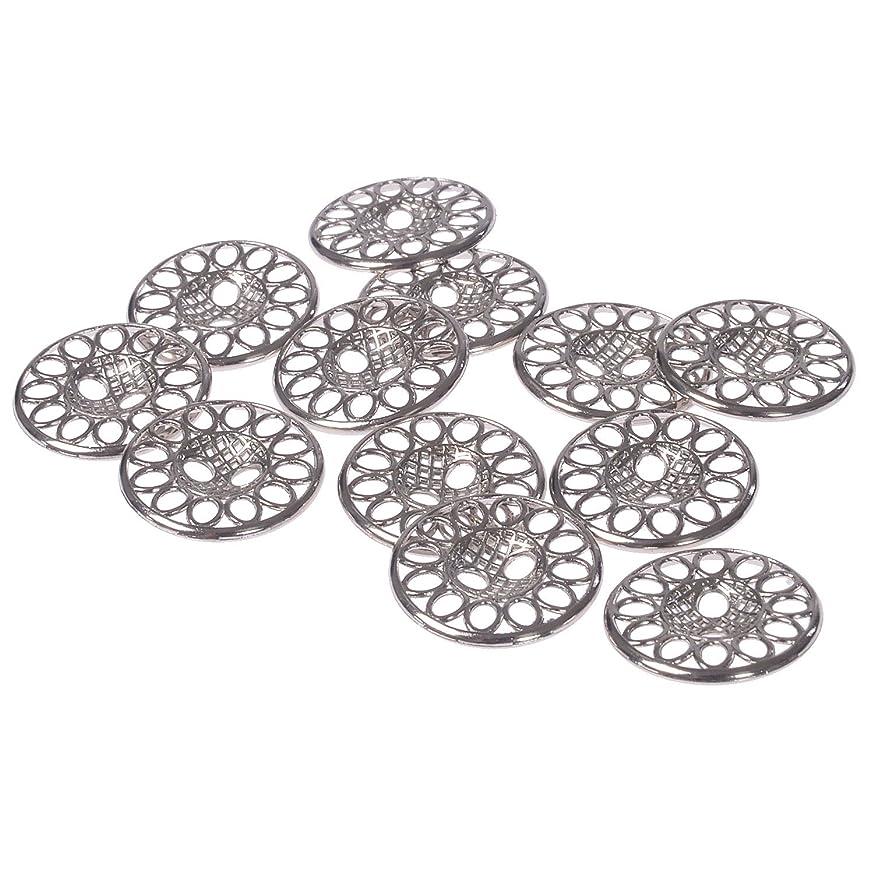 Mibo Zinc Die Casting Metal Button Perforated Filigree Design 2 Hole 28 Line Nickel (12pc)