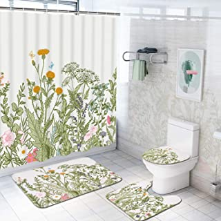Alishomtll 4 Pcs Plant Floral Shower Curtain Set with Non-Slip Rug, Toilet Lid Cover, Bath Mat and 12 Hooks, Botanical Herb Leaves Wildflower Waterproof Shower Curtain Sets for Bathroom