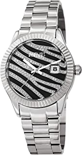 August Steiner Sparkling Crystals Women's Watch - Grooved Sparkling Bezel with Striated Zebra Pattern Dial on Solid Stainl...